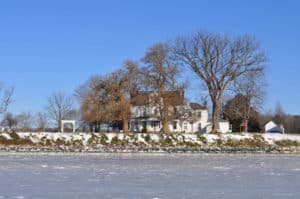 This photo of Lower Notley Hall Manor is taken from atop the icy frozen Wicomico River.