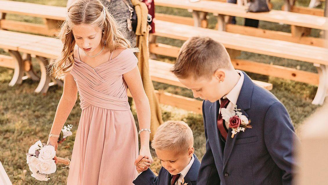 Nick and Meghan's wedding - children walk down the aisle
